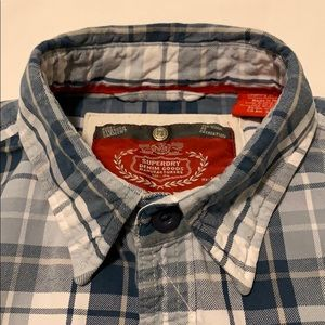SUPERDRY Men's Blue Plaid Casual Shirt Size M